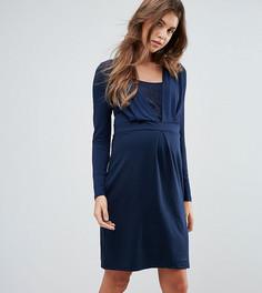 Трикотажное платье с запахом Mamalicious Nursing - Темно-синий Mama.Licious