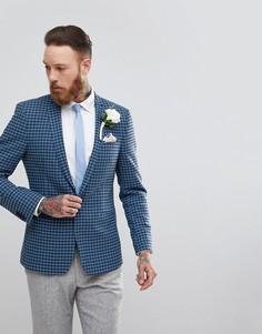 Блейзер скинни из ткани с добавлением шерсти ASOS Wedding - Темно-синий
