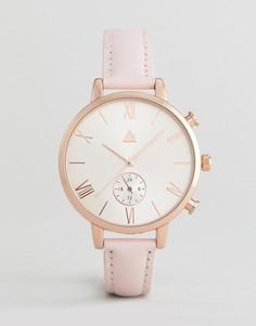 Розово-золотистые часы с розовым кожаным ремешком ASOS - Розовый