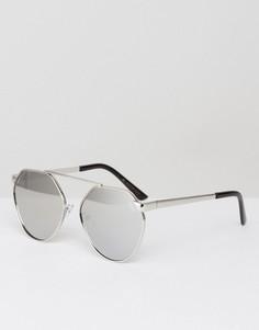 Серебристые солнцезащитные очки с зеркальными стеклами YHF - Серебряный