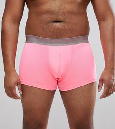 Неоново-розовые боксеры-брифы с блестками на поясе ASOS PLUS - Розовый