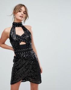 Платье мини с вырезами и пайетками Boohoo - Черный