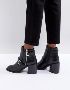 Кожаные байкерские ботинки на каблуке ASOS ELVIE - Черный