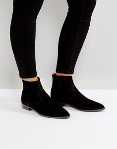 Замшевые остроносые ботинки ASOS ARGO - Черный