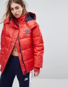 Дутое пальто из блестящего винила Umbro - Красный