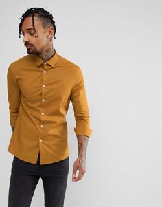 Облегающая рубашка горчичного цвета ASOS - Желтый