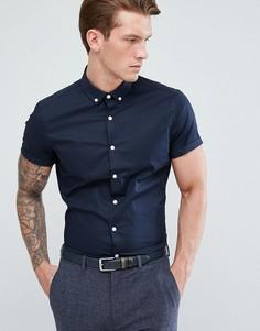 Темно-синяя приталенная рубашка с коротким рукавами и воротником на пуговицах ASOS - Темно-синий