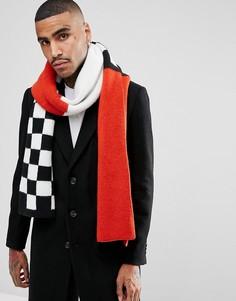 Красный вязаный шарф с шахматной клеткой ASOS - Черный