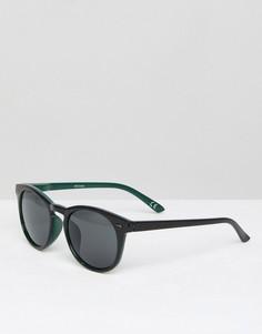 Черные круглые солнцезащитные очки с зеленой обратной стороной ASOS - Черный