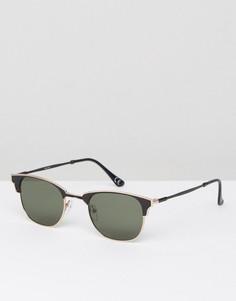 Солнцезащитные очки в стиле ретро (черный/золотистый) ASOS - Черный