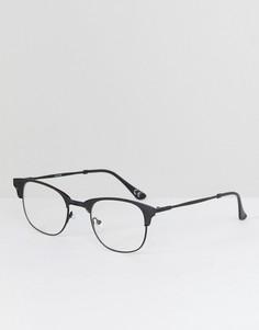 Очки с прозрачными стеклами в черной матовой оправе ASOS - Черный