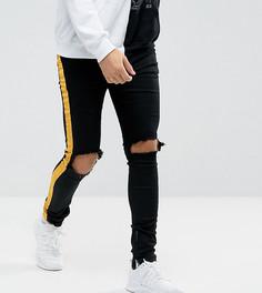 Черные обтягивающие джинсы с желтыми полосами Sixth June - Черный