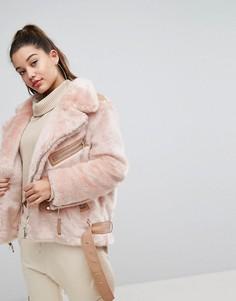 Бомбер с искусственным мехом Boohoo - Розовый