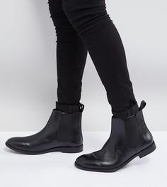 Черные кожаные ботинки челси для широкой стопы ASOS - Черный