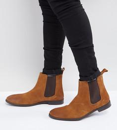 Светло-коричневые замшевые ботинки челси для широкой стопы ASOS - Рыжий