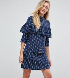Платье в горошек с оборками Influence Tall - Темно-синий