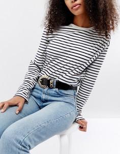 Лакированный ремень под джинсы с цепочкой ASOS - Черный