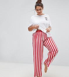 Пижамная футболка и брюки с вышивкой ASOS CURVE - Мульти