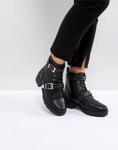 Походные ботинки с ремешками и заклепками Truffle Collection - Черный