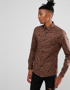 Приталенная рубашка с леопардовым принтом ASOS - Коричневый
