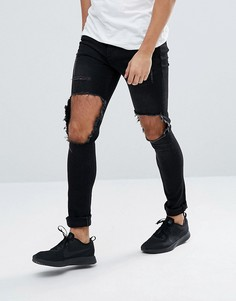 Черные обтягивающие джинсы с рваной отделкой Mennace - Черный