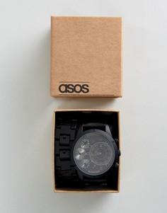 Часы со сменными ремешками черного цвета и цвета пушечной бронзы ASOS - Черный