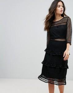 Кружевное платье миди с рукавами 3/4 Liquorish - Черный