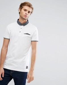 Поло с воротником и карманом контрастного цвета Brave Soul - Белый