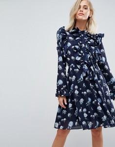 Платье с цветочным принтом и оборками Liquorish - Темно-синий