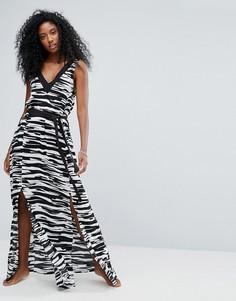 Пляжное платье макси с принтом Seafolly Step It Up - Черный