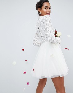 Декорированное платье мини ASOS BRIDAL - Кремовый