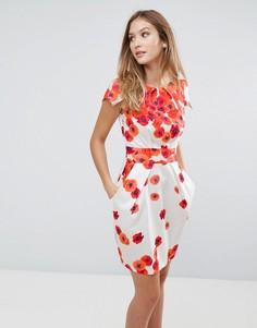 Платье с цветочным принтом и завязками сзади Closet - Мульти