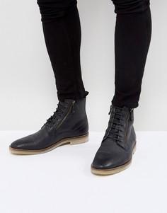 Черные замшевые ботинки на шнуровке с молниями и натуральной подошвой ASOS - Черный