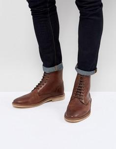 Светло-коричневые кожаные ботинки со шнуровкой ASOS - Коричневый