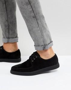 Черные ботинки-криперы из искусственной замши на шнуровке ASOS - Черный