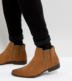 Светло-коричневые ботинки челси для широкой стопы из искусственной замши ASOS - Рыжий