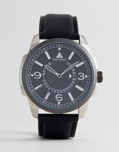 Оверсайз-часы с черным ремешком и разметкой часов и минут ASOS - Черный