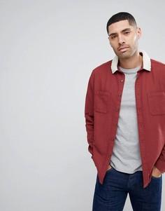 Бордовая рубашка с воротником из искусственного меха ASOS - Красный