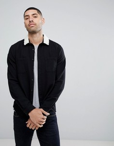 Черная рубашка с воротником из искусственного меха ASOS - Черный