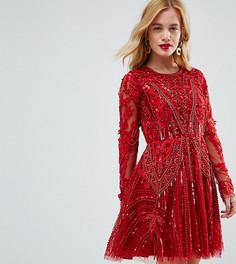 Короткое приталенное платье с декоративной отделкой и длинными рукавами A Star Is Born Petite - Красный