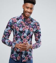 Рубашка скинни с цветочным принтом ASOS TALL - Темно-синий