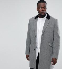 Пальто из смешанной шерсти с бархатным воротником ASOS PLUS - Серый
