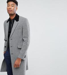 Пальто из ткани с добавлением шерсти и узором в елочку ASOS TALL - Серый