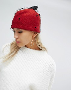 Красная шапка с вуалью Helene Berman - Красный
