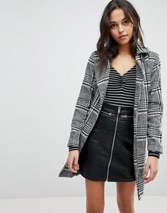 Пальто в клетку с поясом Parisian - Черный