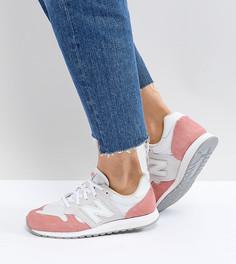 Бело-розовые замшевые кроссовки колор блок New Balance 520 - Белый