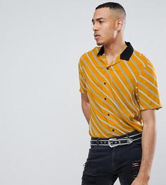 Рубашка свободного кроя в диагональную полоску ASOS TALL - Желтый