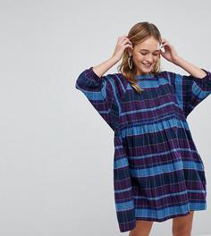 Свободное платье в клетку с пышными рукавами Monki - Синий