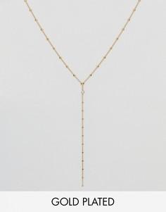 Позолоченное ожерелье из шариковой цепочки с кристаллом Swarovski Dogeared - Золотой