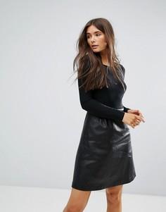 Платье 2-в-1 с юбкой из искусственной кожи Traffic People - Черный